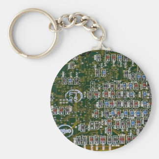 Resistors on a Circuit Board Basic Round Button Key Ring