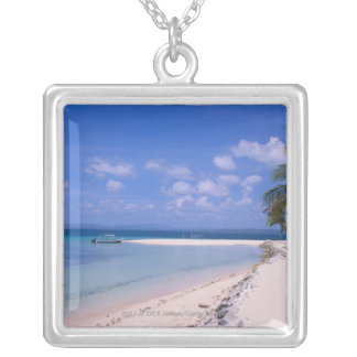 Resort on the beach silver plated necklace