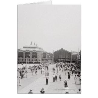 Resort tourists on esplanade card