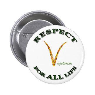 Respect for ALL life - vegetarian logo 6 Cm Round Badge