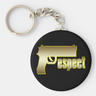 Respect in Gold Basic Round Button Key Ring