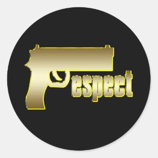 Respect in Gold Round Sticker