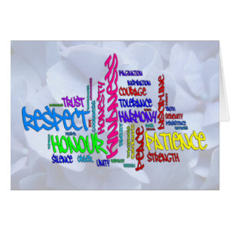 Respect, Kindness, Trust... Virtues word art Note Card