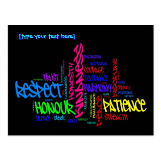 Respect, Kindness, Trust... Virtues word art Postcard