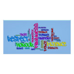 Respect, Kindness, Trust, Virtues word art poster