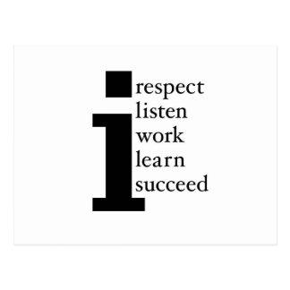 Respect Learn Succeed Listen Work Postcard