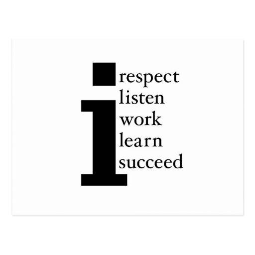 Respect Learn Succeed Listen Work Postcards