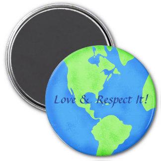 Respect Love Blue Green Earth Globe Art Fridge Magnets
