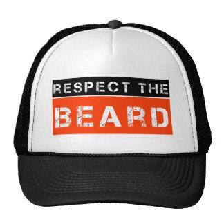 Respect the Beard funny men's hat Black and Orange