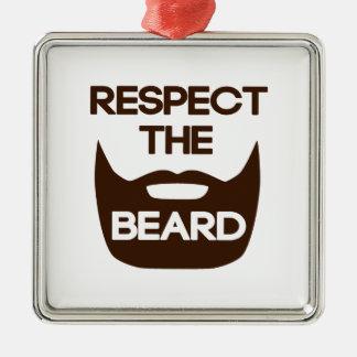 Respect The Beard Silver-Colored Square Decoration