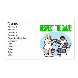 Respect The Game Pack Of Standard Business Cards