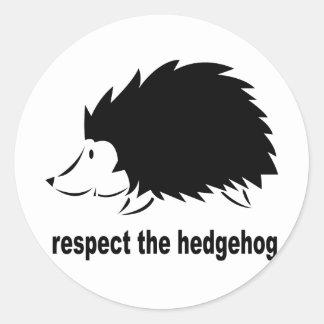 Respect The Hedgehog Classic Round Sticker