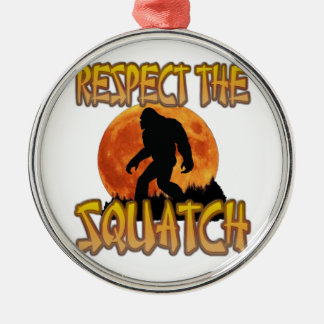 Respect The Squatch Silver-Colored Round Decoration