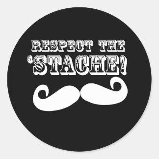 Respect the 'Stache Classic Round Sticker