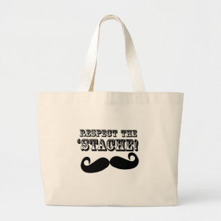 Respect the 'Stache Large Tote Bag