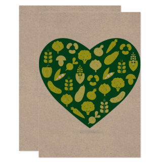 Response card : Vegetable heart on recycle paper