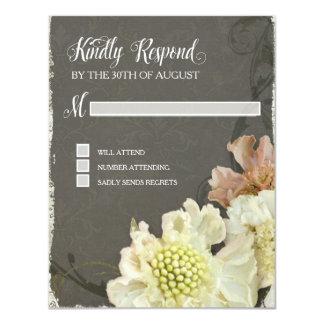 Response Card Wedding Modern Painterly Floral Art 11 Cm X 14 Cm Invitation Card