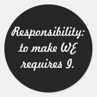 responsibility round sticker