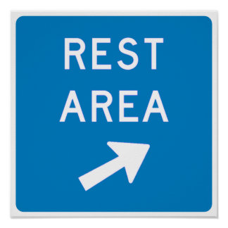 Rest Area Highway Sign Poster