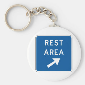 Rest Area Street Sign Basic Round Button Key Ring