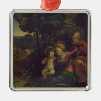 Rest During the Flight into Egypt, c.1510-12 (oil Silver-Colored Square Decoration