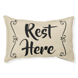 Rest Here Pet Bed (Beige with Black)