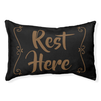 Rest Here Pet Bed (Black with Brown)