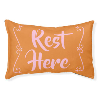 Rest Here Pet Bed (Orange with Pale Pink)
