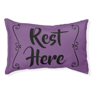 Rest Here Pet Bed (Purple with Black)
