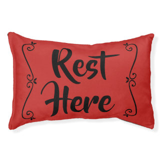 Rest Here Pet Bed (Red with Black)