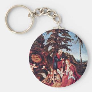 Rest On The Flight By Cranach D. Ä. Lucas (Best Qu Basic Round Button Key Ring