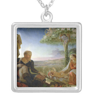 Rest on the Flight into Egypt, 1805-6 Silver Plated Necklace