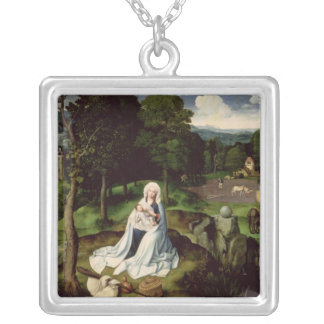 Rest on the Flight into Egypt Silver Plated Necklace