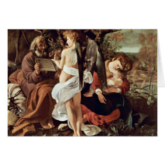 Rest On The Flight To Egypt By Michelangelo Merisi Greeting Card