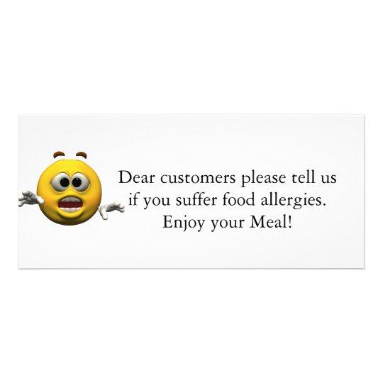 Restaurant Allergy Notice Rack Card