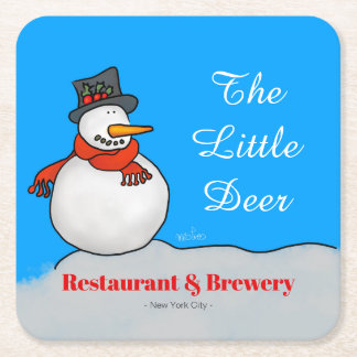 Restaurant & Brewery Snowman Square Paper Coaster