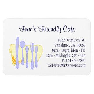 Restaurant Business Card Blue Yellow Custom Magnet