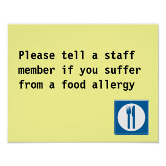 Restaurant Food Allergy notice Poster