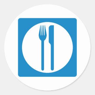Restaurant Highway Sign Round Sticker