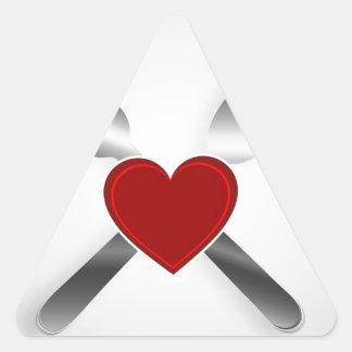 Restaurant menu design with a heart triangle sticker