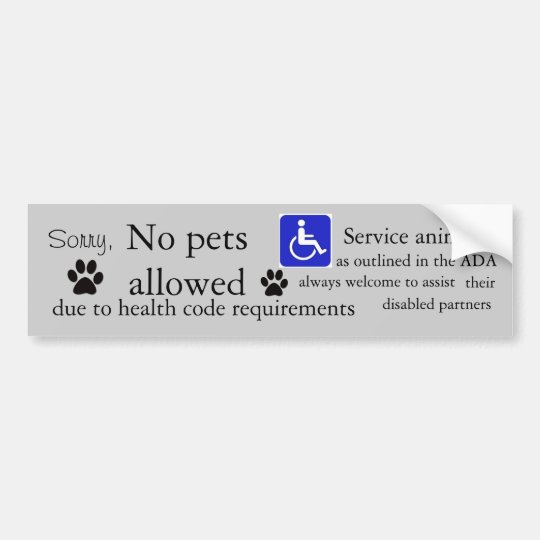 Restaurant no pets sign grey bumper sticker