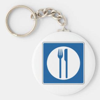 Restaurant Street Sign Basic Round Button Key Ring