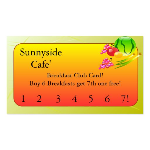Restaurant Supplies   Breakfast club cards Business Card Templates