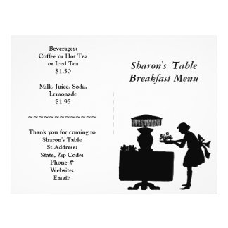 Restaurant Supplies, Breakfast Menu Customizable 21.5 Cm X 28 Cm Flyer
