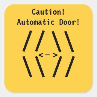 Restaurant Supplies!  Caution! Automatic Door! Square Sticker