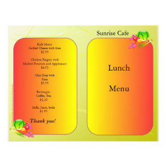Restaurant Supplies Lunch Menu Sunrise design 21.5 Cm X 28 Cm Flyer