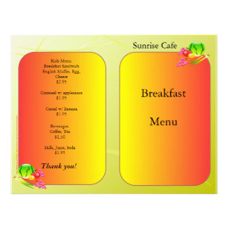Restaurant Supplies, sample menu, Sunnyside 21.5 Cm X 28 Cm Flyer