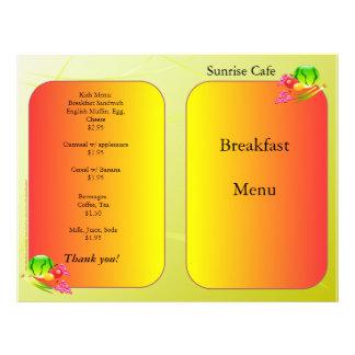 Restaurant Supplies, sample menu, Sunnyside 21.5 Cm X 28 Cm Flyer