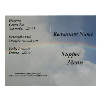 Restaurant Supplies Supper Menu Rainbow Designs Custom Flyer