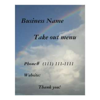 Restaurant Supplies  Take out flyer rainbow